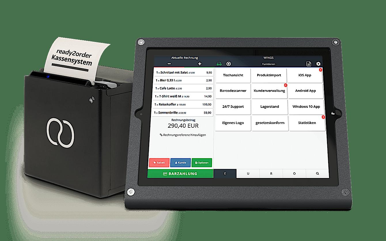 User-Interface auf ready2order Tablet neben Drucker