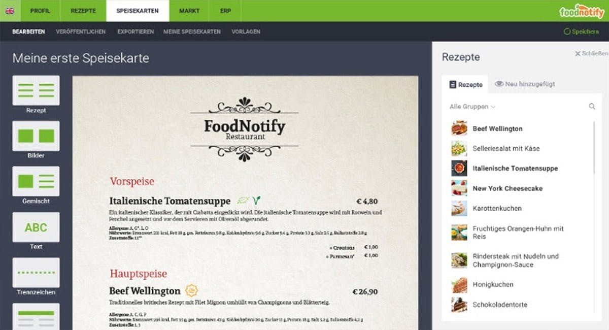 Speisekarte erstellen mit FoodNotify