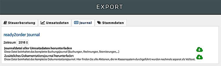 Kassenjournal Export