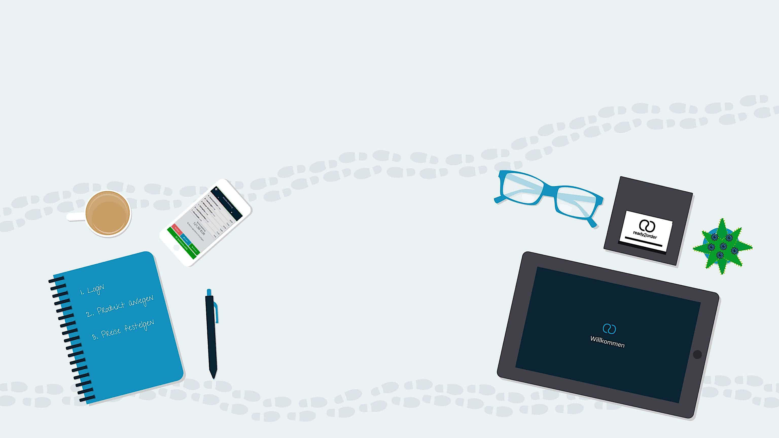 Erste Schritte mit eigenem Kassensystem, ein Buch, Log, Tablet