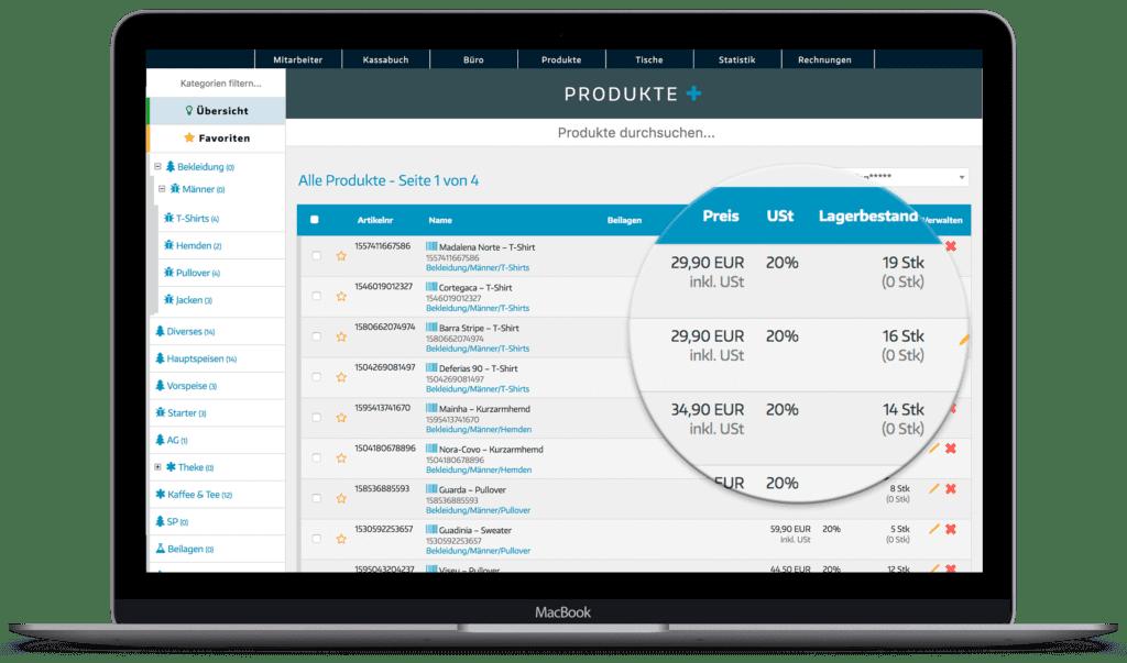 Registrierkasse Einzelhandel - Dashboard Detailansicht