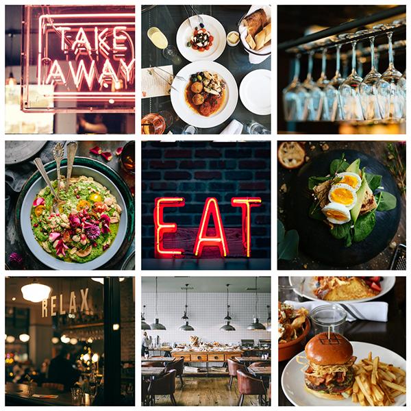 Fotobox mit Aufnahmen von Restaurants und Speisen
