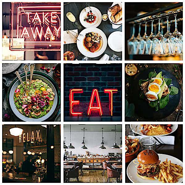 Zusammenstellung von Fotos für Restaurant Instagram