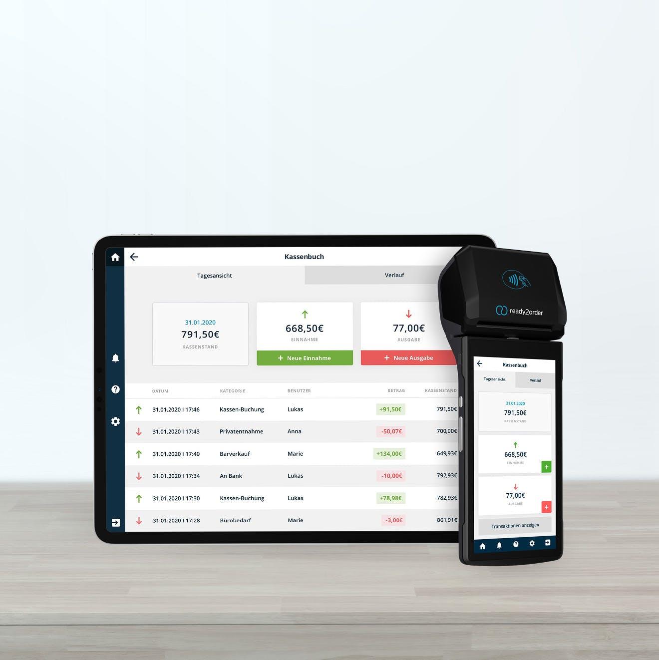 User-Interface auf ready2order Tablet neben readyP2