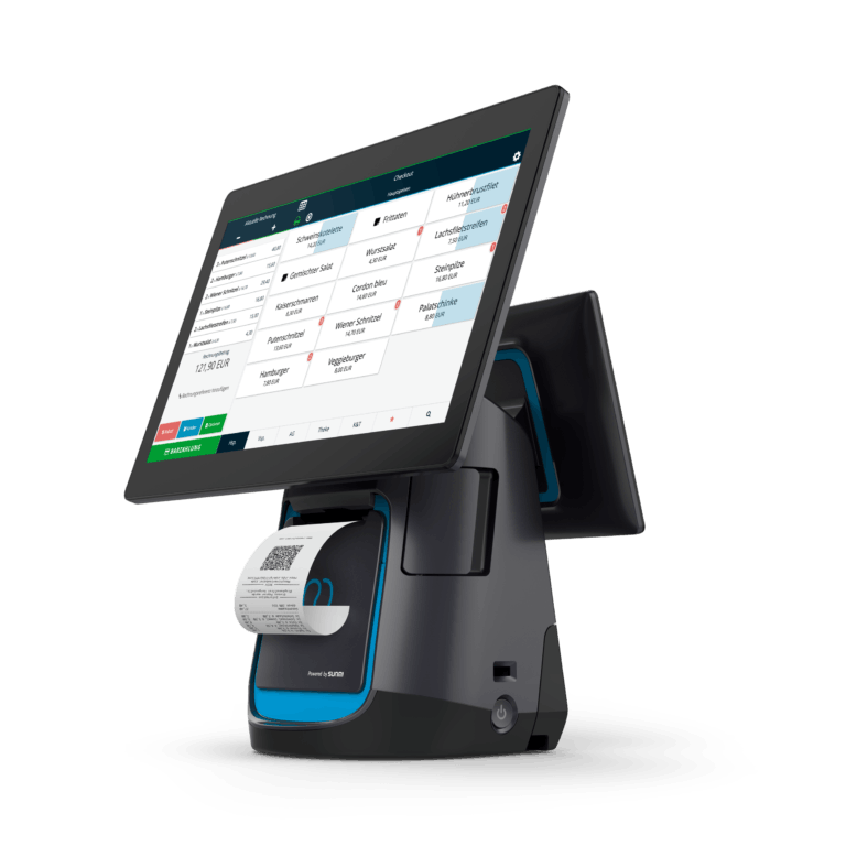 Der readyT2 ist der High-End Kassenterminal mit integriertem Drucker und Kundendisplay