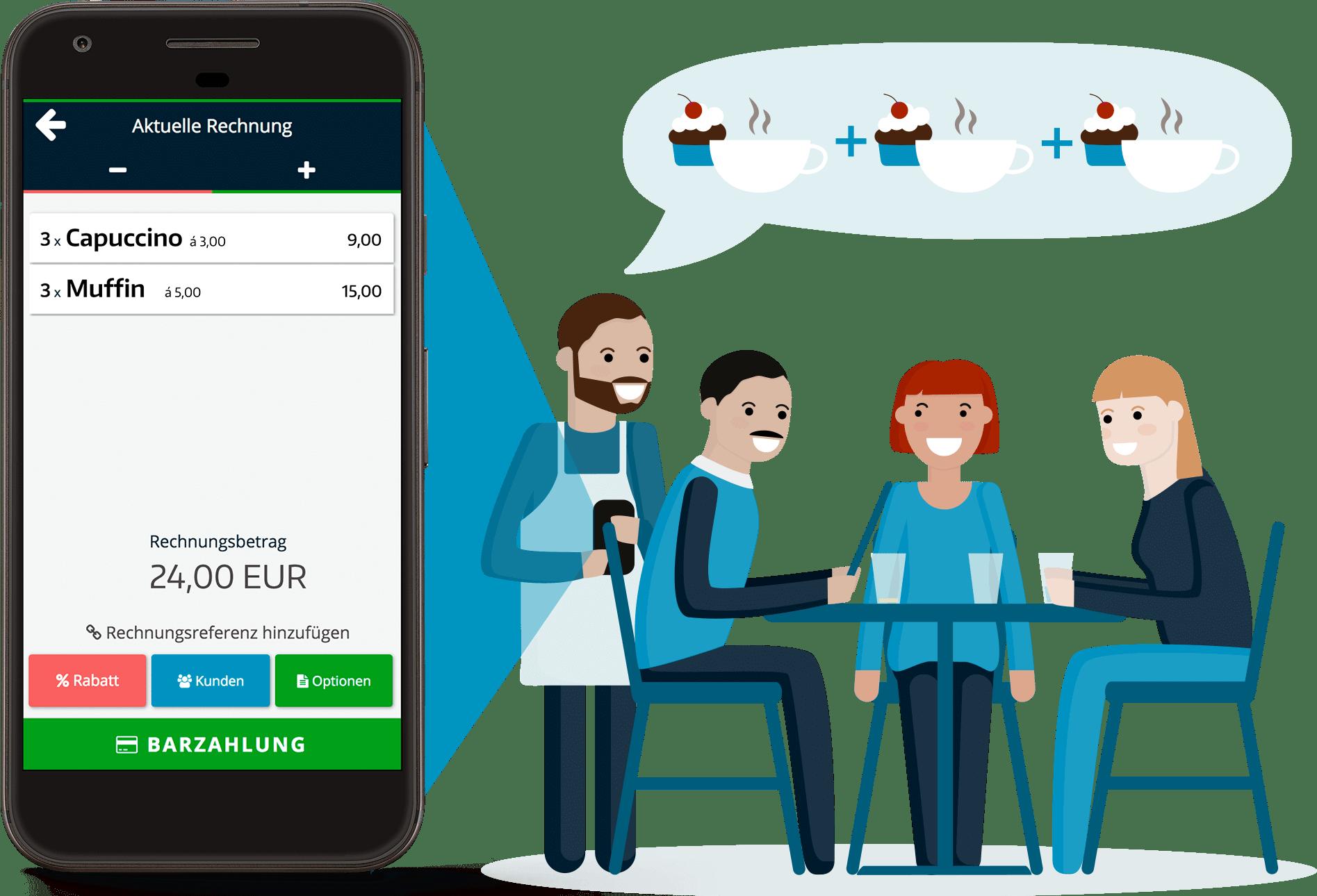 Personen sitzen im restaurant und bezahlen mit app für kassensoftware