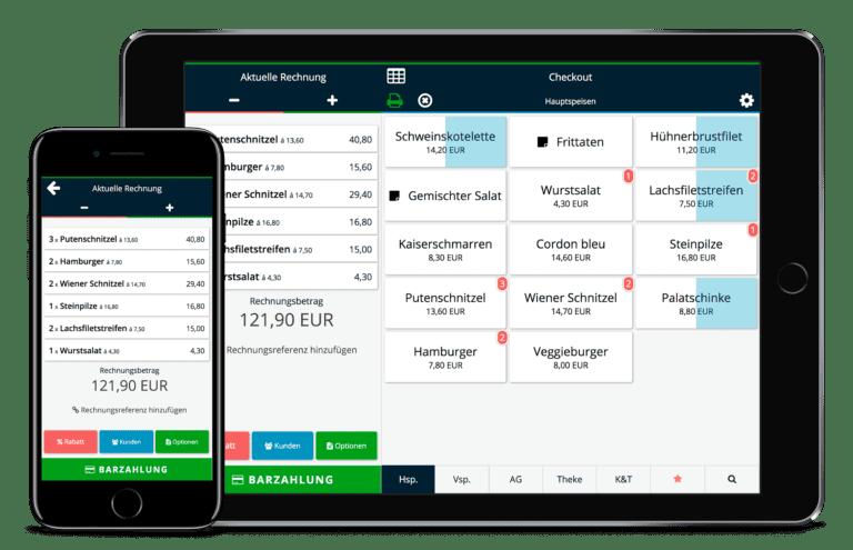 Software einer Registrierkasse auf Mobil und Tablet