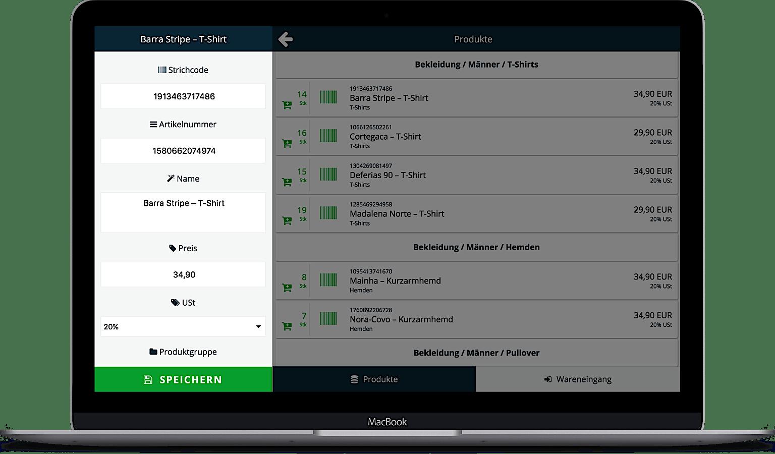 Registrierkasse mit Warenwirtschaftssystem auf Laptop