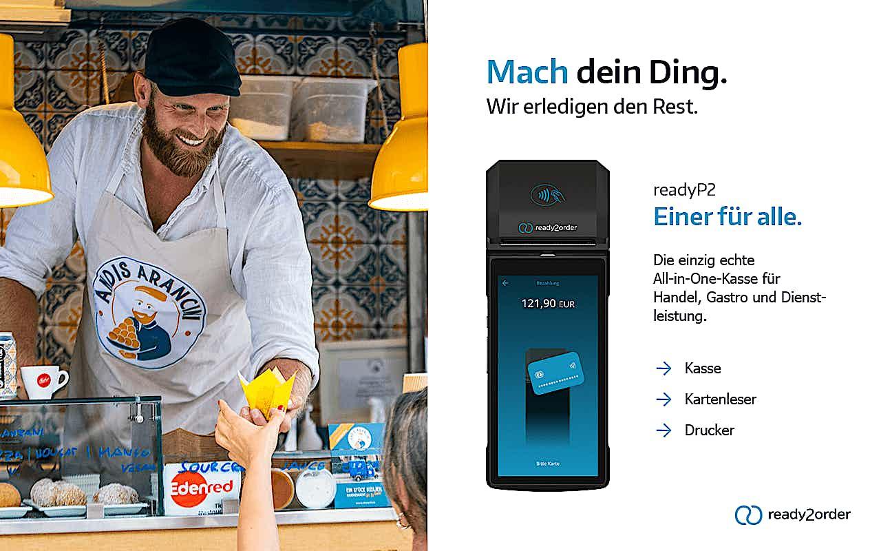 Kampagnenbild mit ready2order Kunde Andreas Weigl von Andis Arancini, readyP2