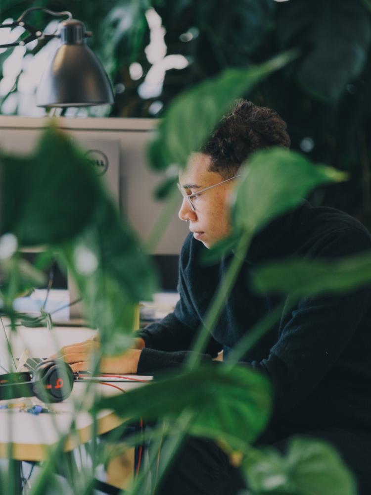 Developer focused on work