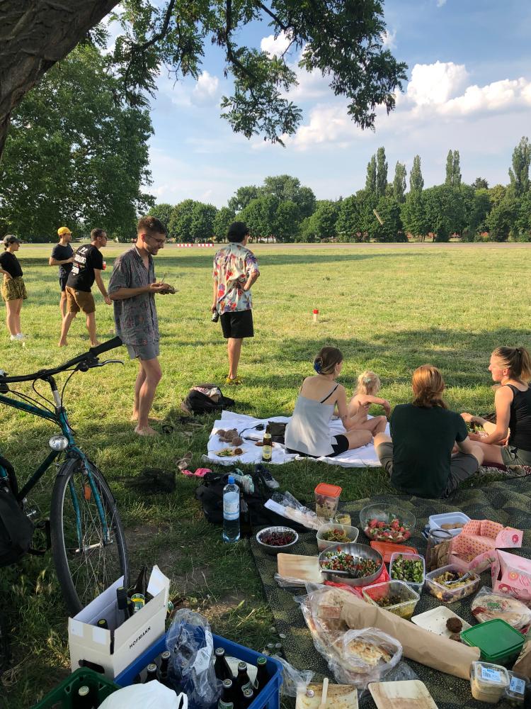 People at post-work picnic