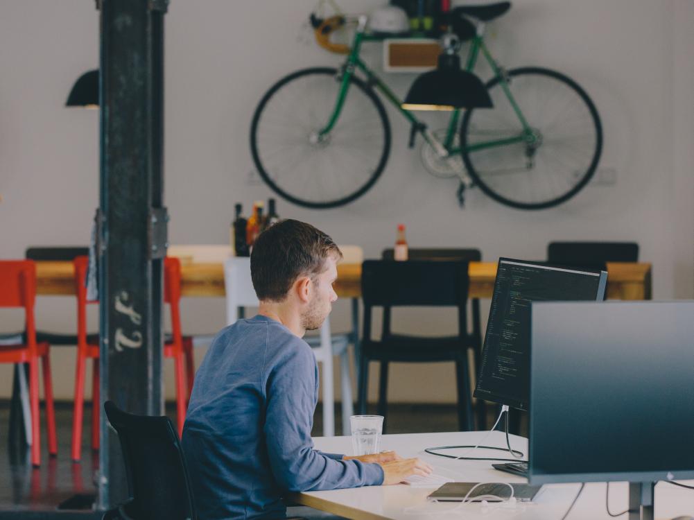 Developer coding in the office.