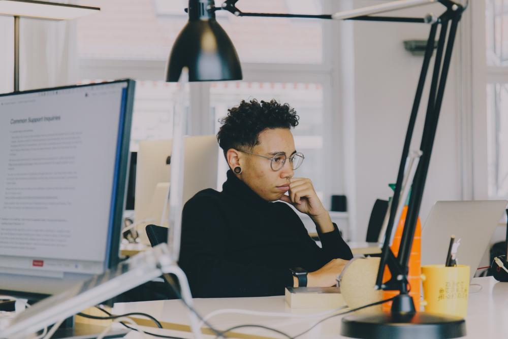Developer focused on work.
