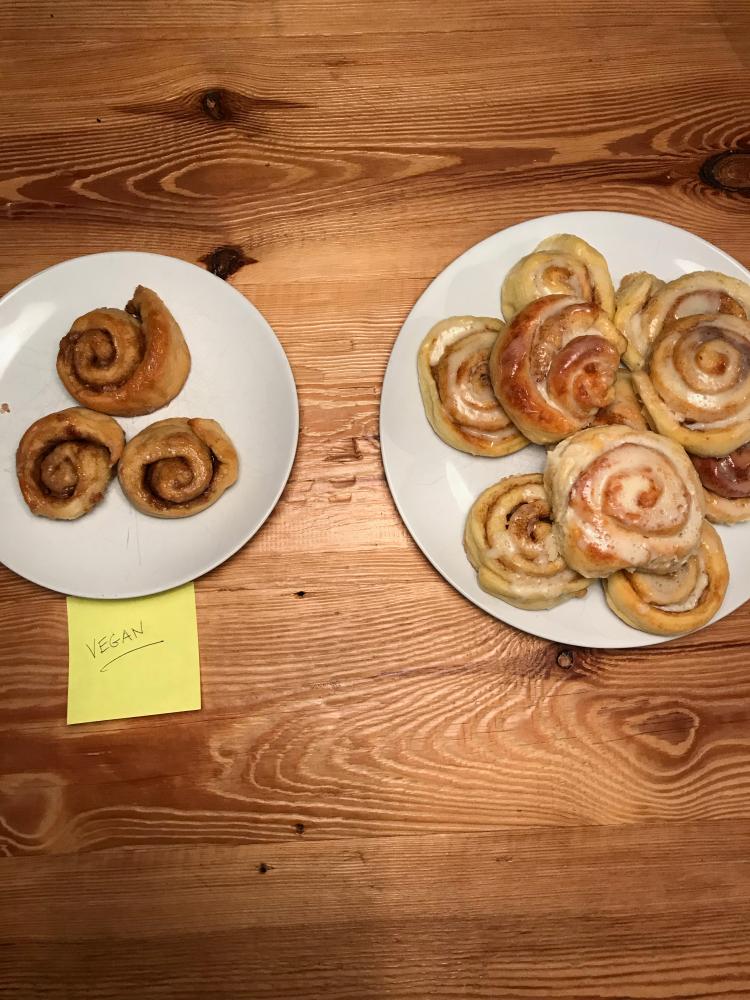 Vegan and non-vegan office pastries.