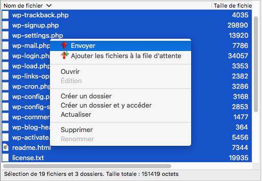 Envoi des fichiers Wordpress sur le serveur OVH