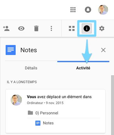 Google Drive : Suivi de l'activité liée à un document