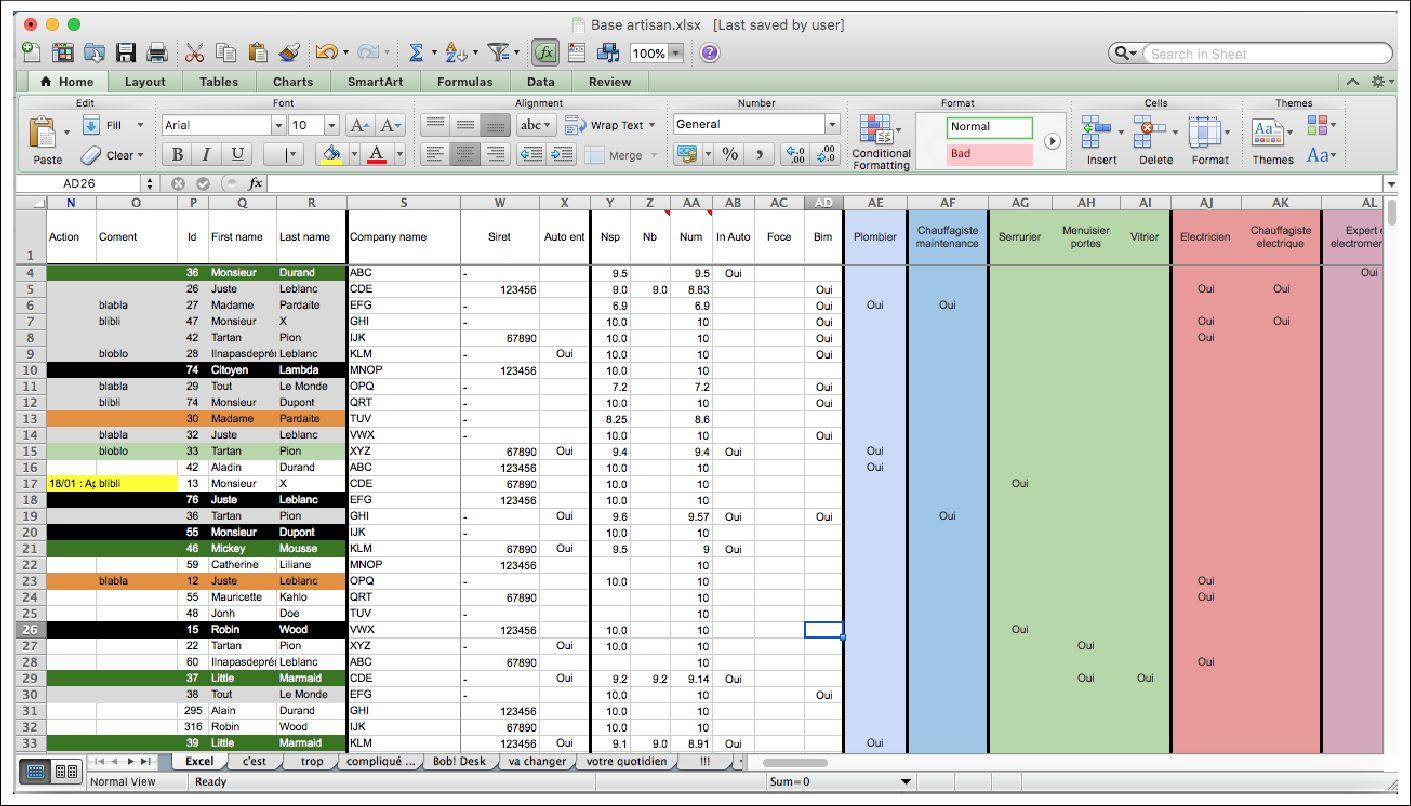 GMAO gratuit : visuel Excel