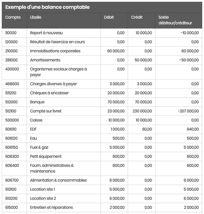 Exemple balance comptable partie double