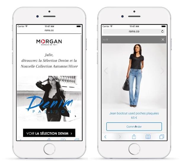 Exemple de Rich SMS pour stimuler la vente en ligne
