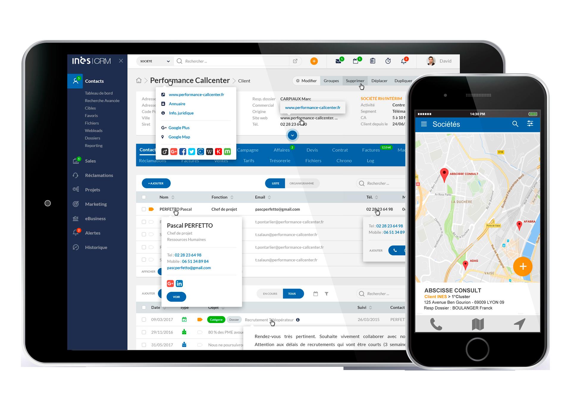 Interface du logiciel ERP INES