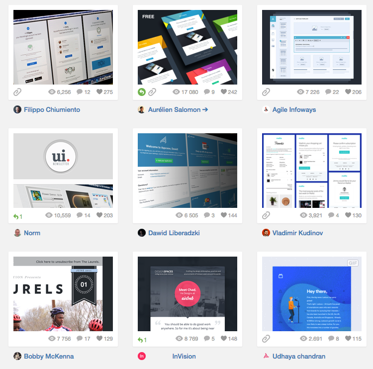 Dribbble: visualisez les tendances emailing