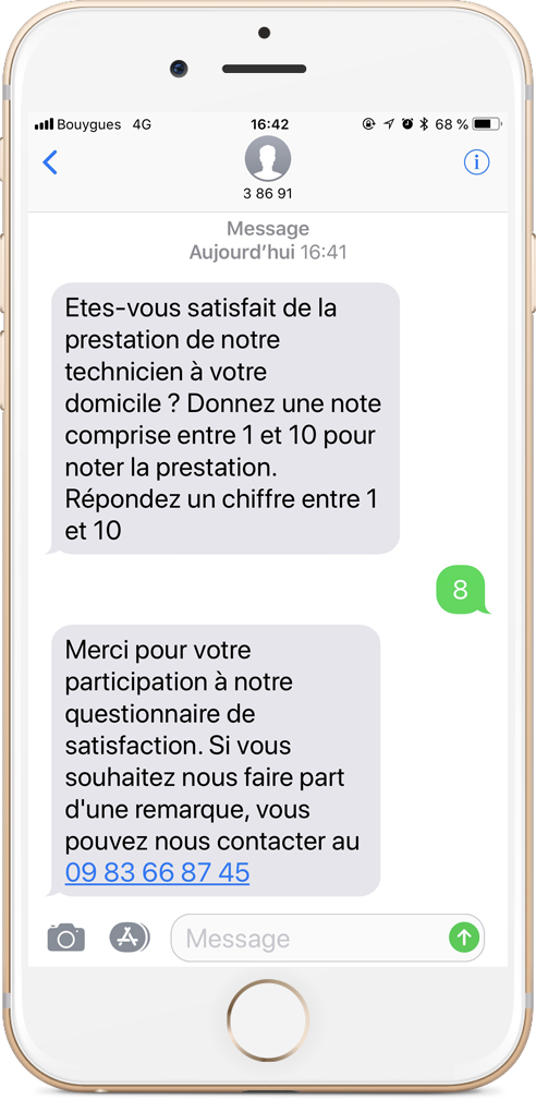 Exemple questionnaire de satisfaction par SMS