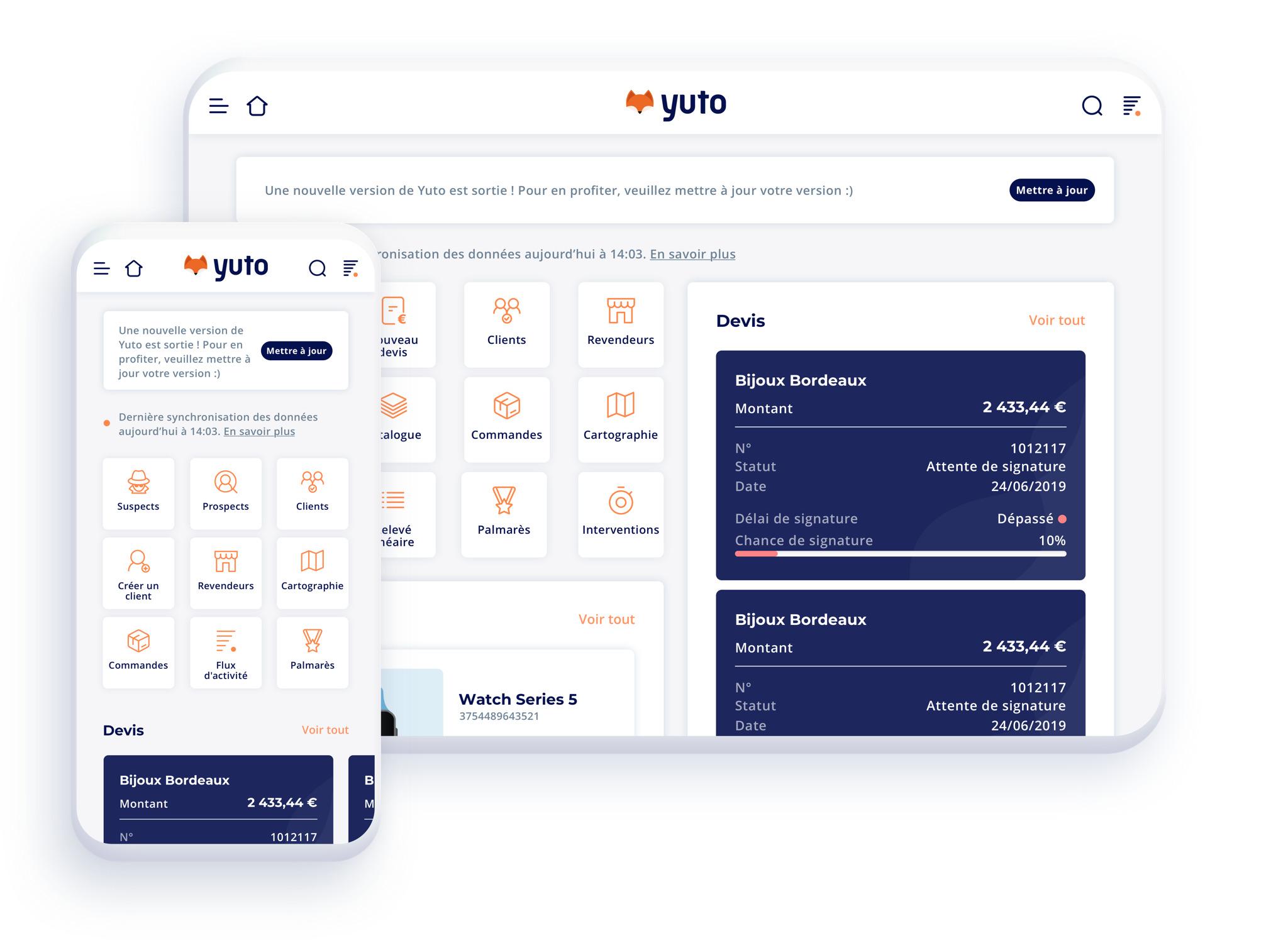 crm mobile : visuel Yuto