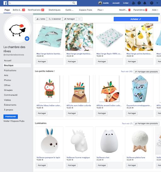 Vendre en ligne : exemple de e-boutique sur facebook