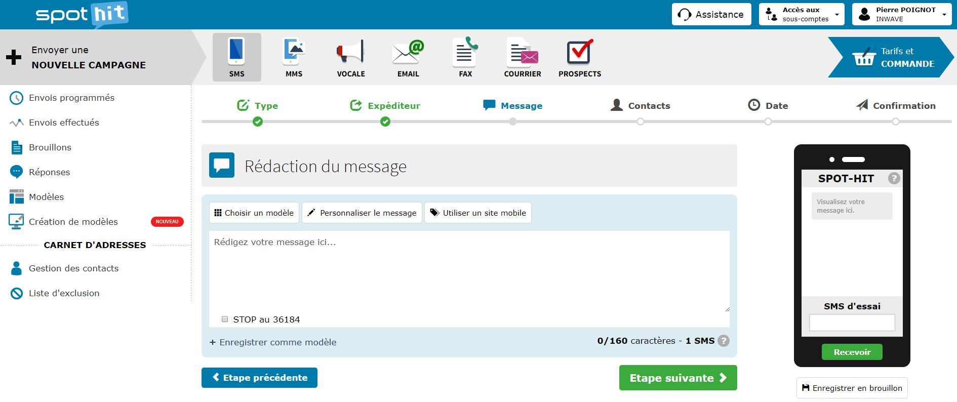 interface du logiciel spot-hit pour l'envoi de sms en masse