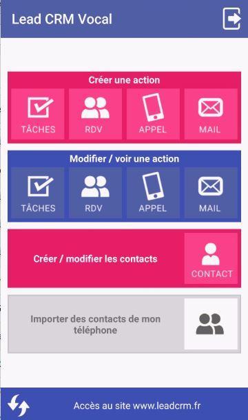 Lead CRM Vocal application mobile