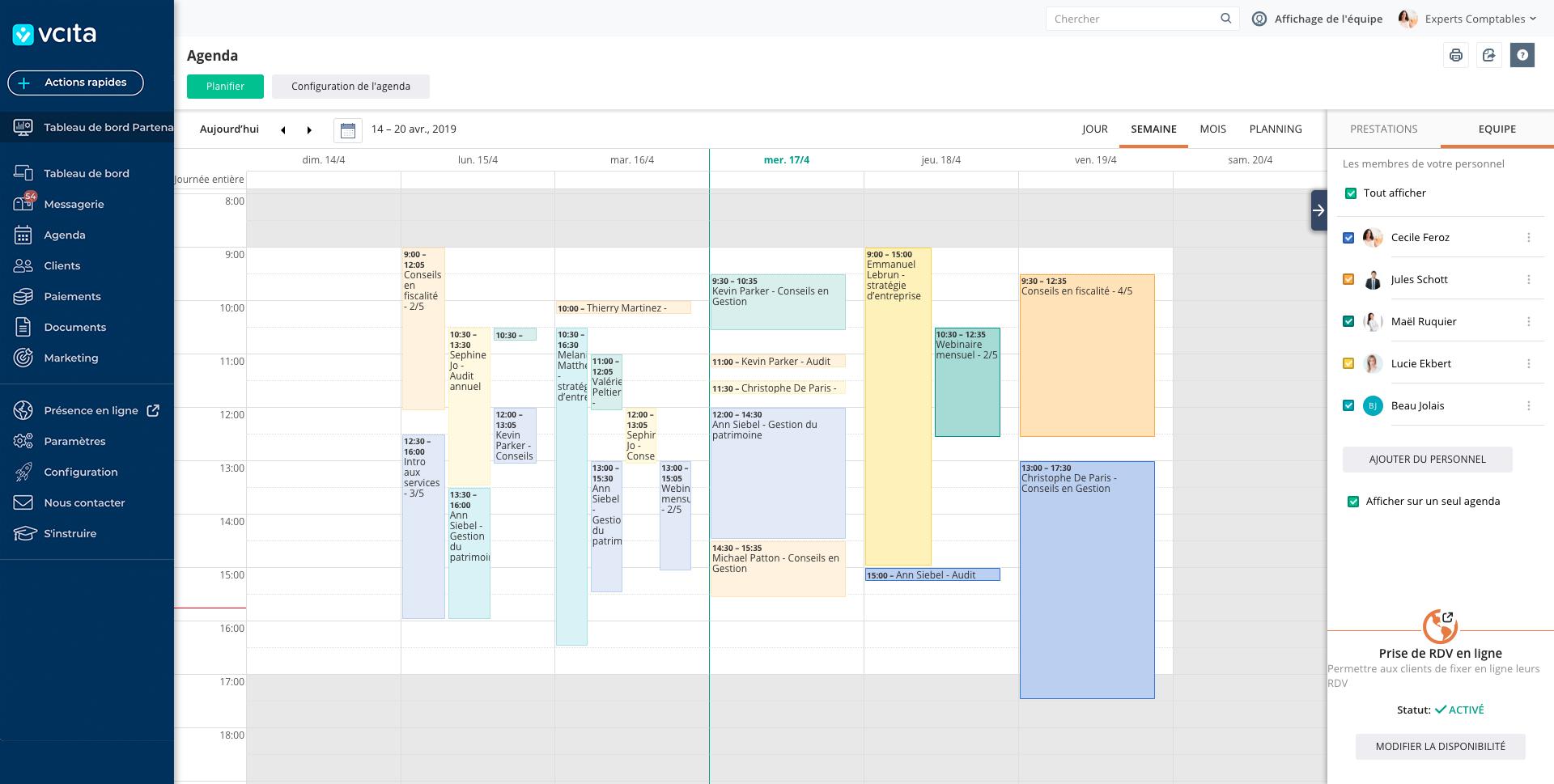 Planning médical vcita prise de rendez vous logiciel en ligne