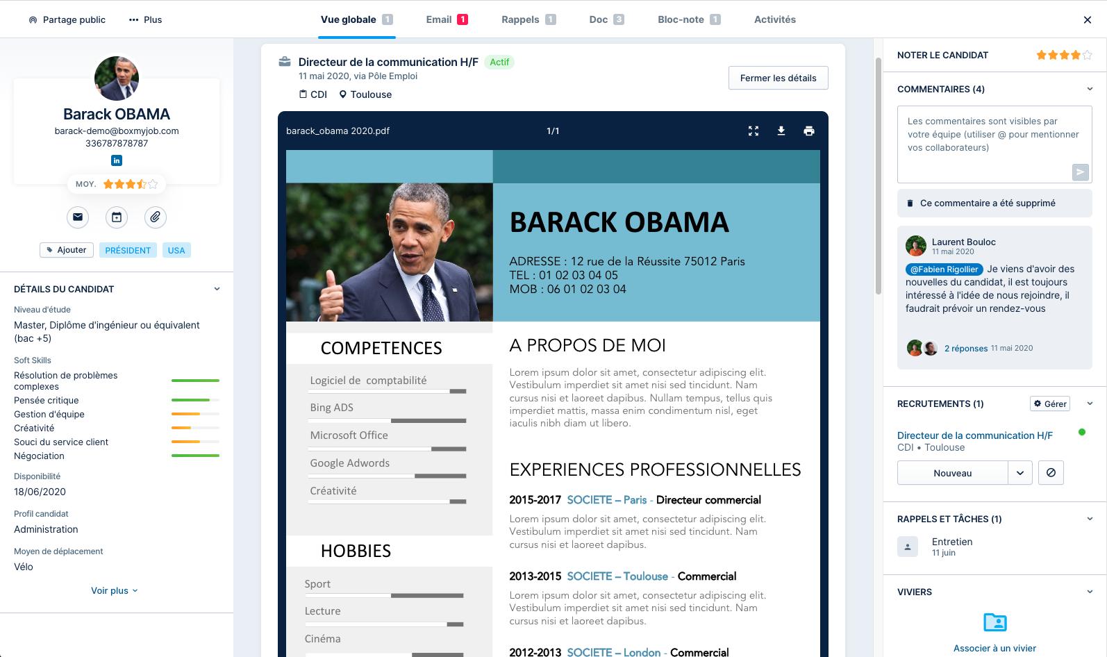 Profil de poste : Fiche candidat dans le logiciel de recrutement en ligne Taleez ATS