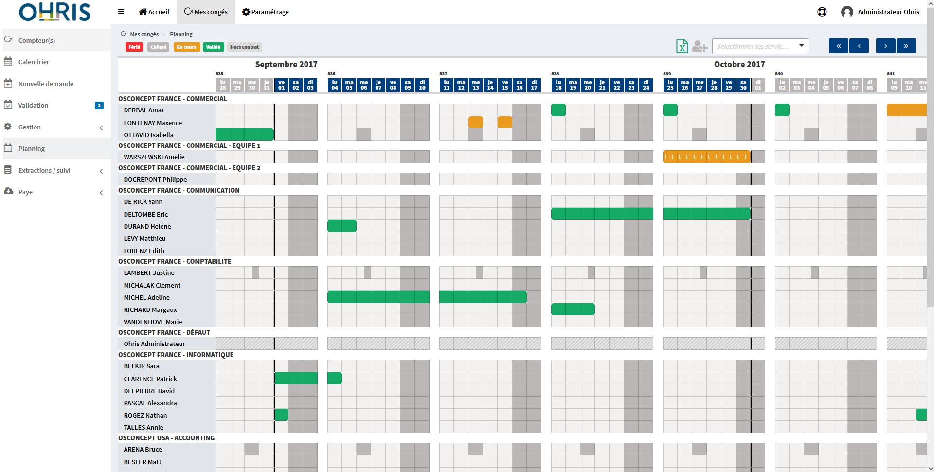 planning collectif de gestion des congés dans le logiciel ohris congés