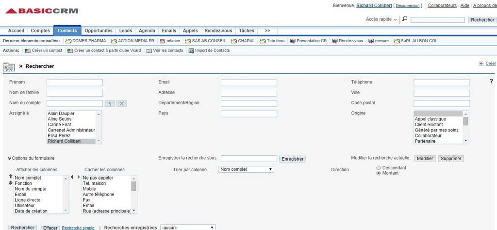 Capture d'écran du logiciel BasicCRM