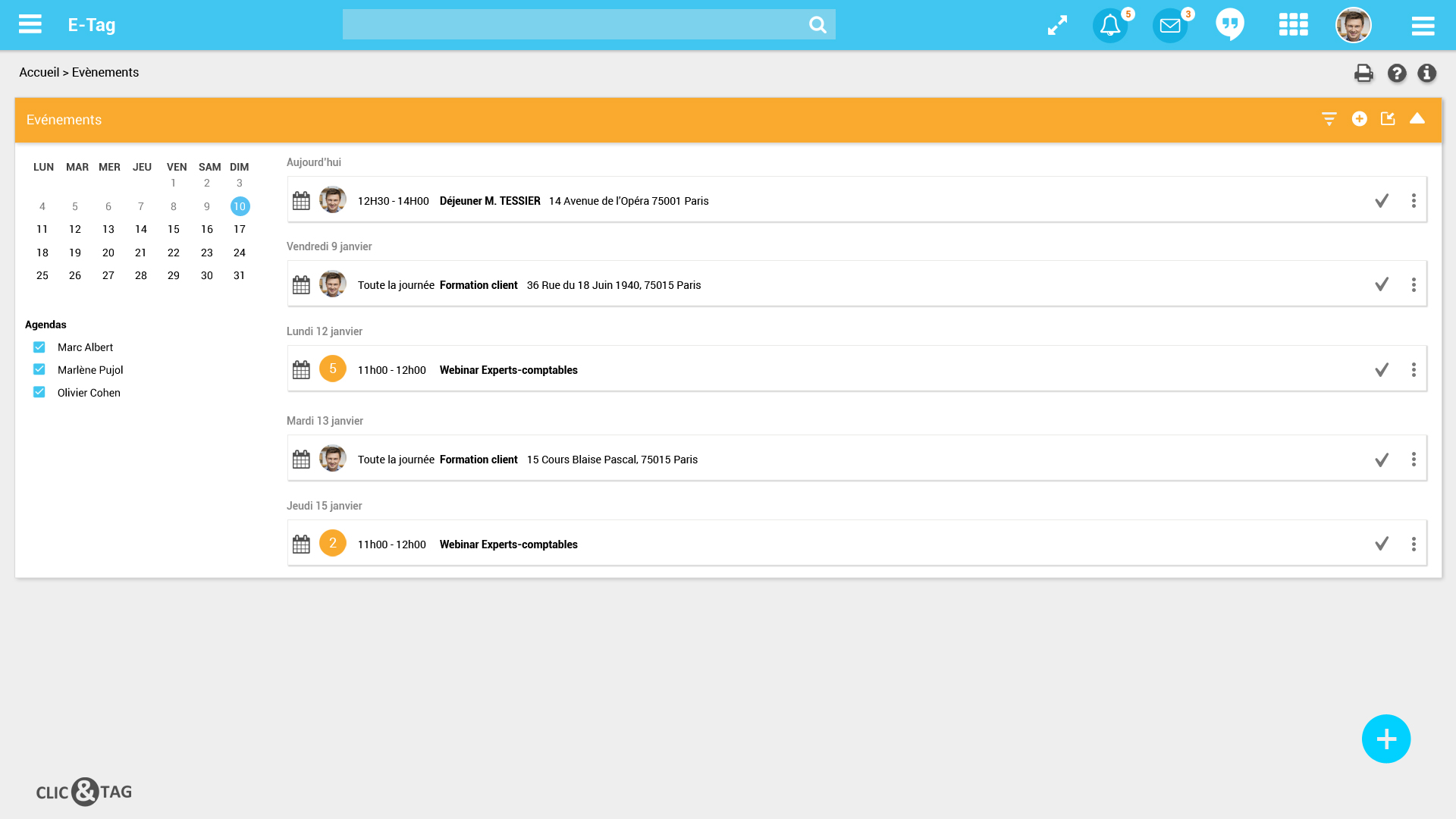 Capture d'écran du logiciel Clic CRM