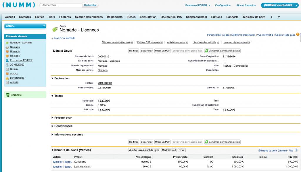Numm facturation Salesforce