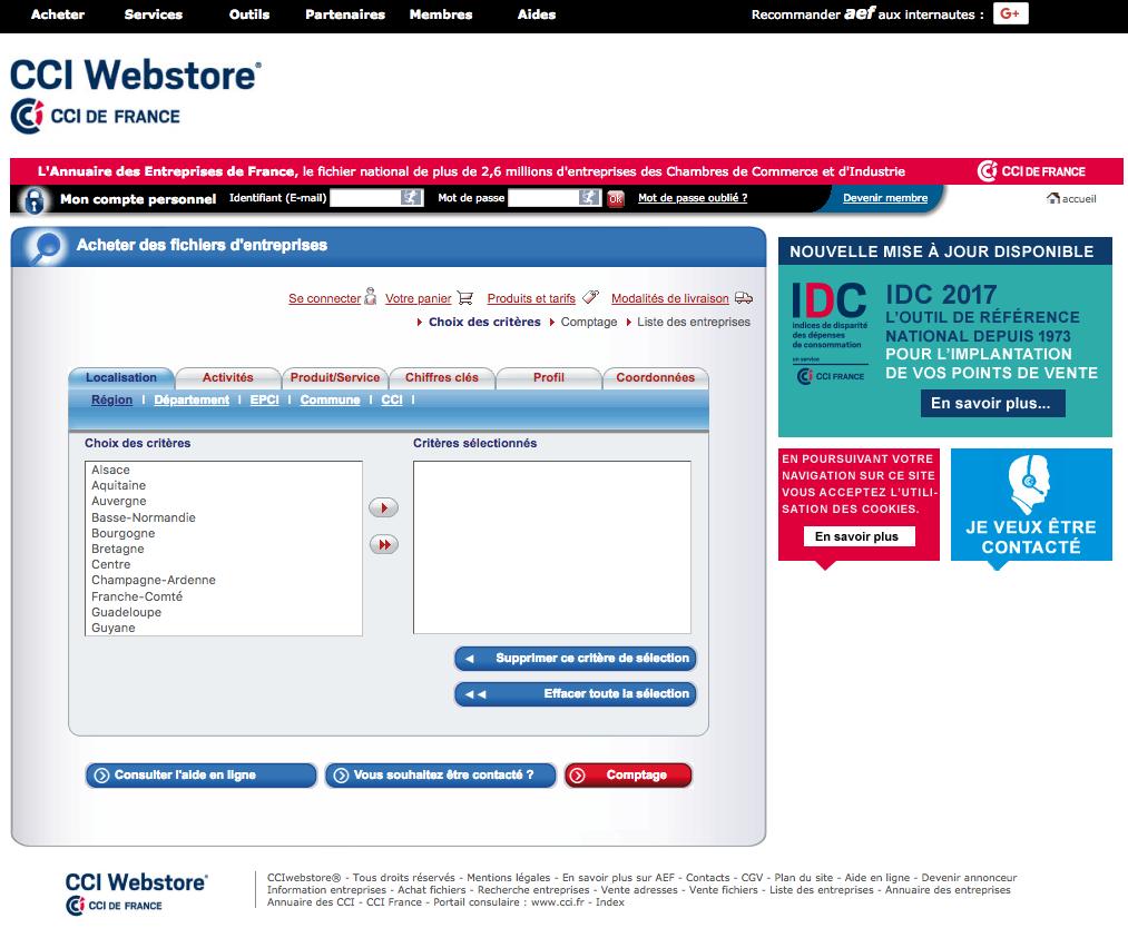 Achat de fichier b to b avec le CCI webstore