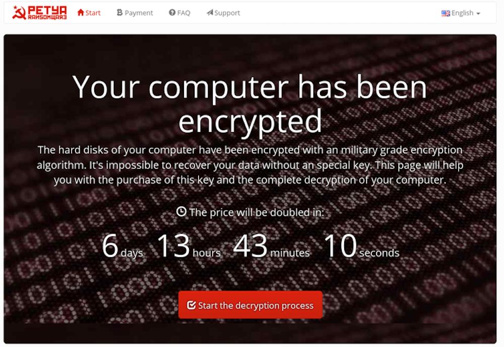 ransomware Petya : exemple