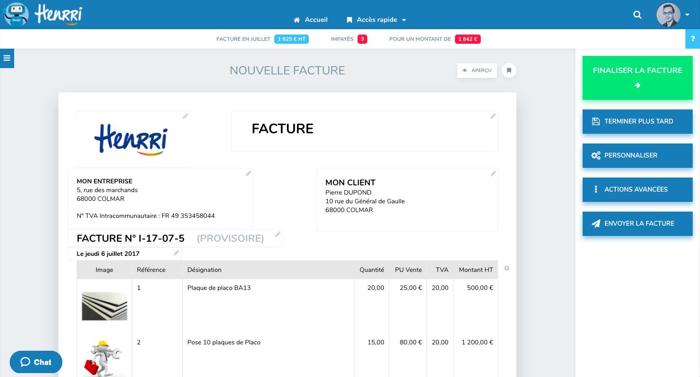 Facture facile Henrri logiciel facturation gratuit