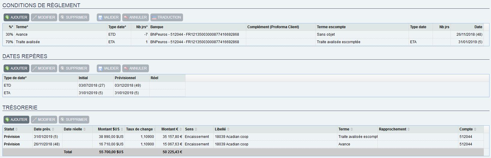 intégration de la trésorerie sur commande avec TRADE.EASY solution web