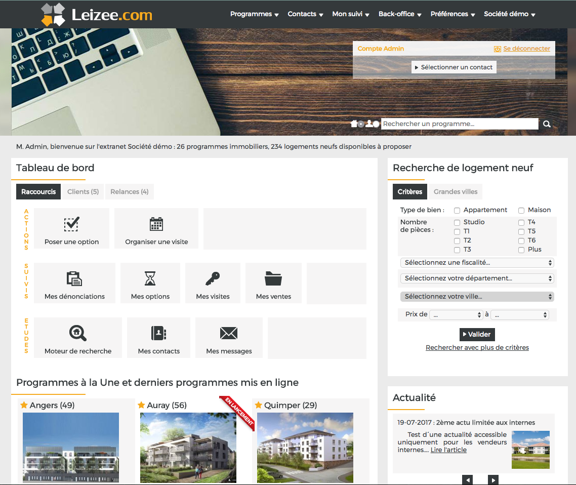 Leizee : extranet CRM pour promoteur immobilier