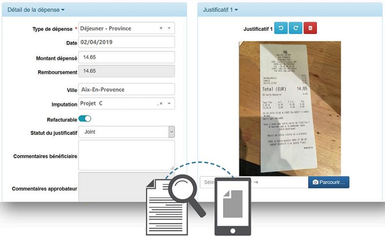 exemple d'interface logiciel note de frais avec OCR