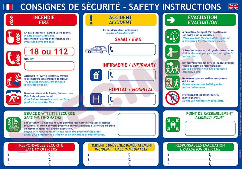 les consignes de sécurité à afficher en entreprise