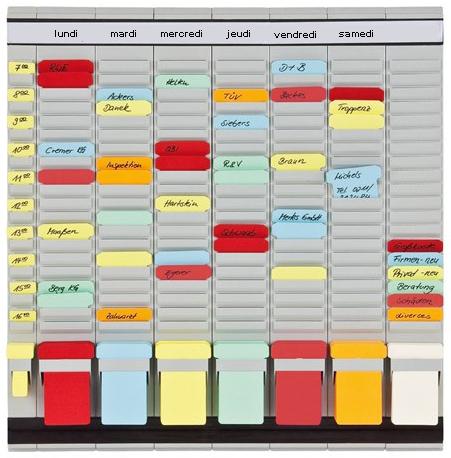 Planification des tâches : tableau planning avec fiches en T