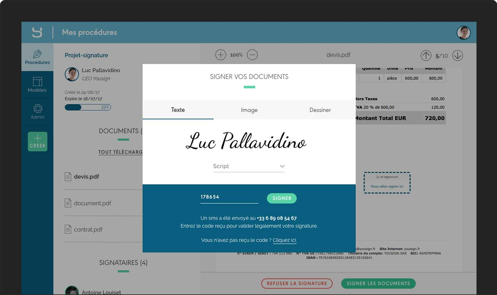Certificat électronique signature électronique Yousign