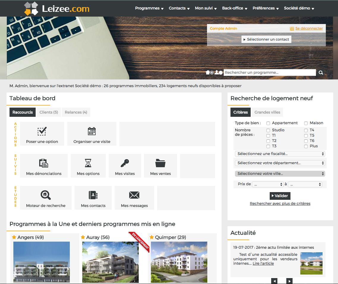 logiciel immobilier pour promoteurs Leizee