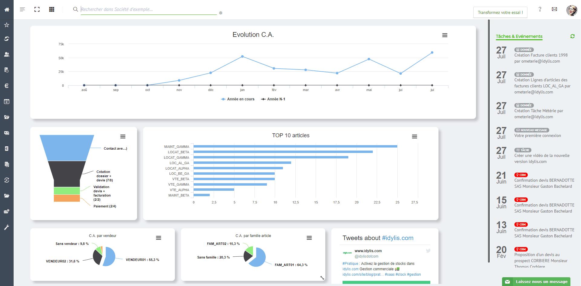 Exemple de rapport de gestion de vente dans l'outil CRM de gestion des ventes Idylis.com