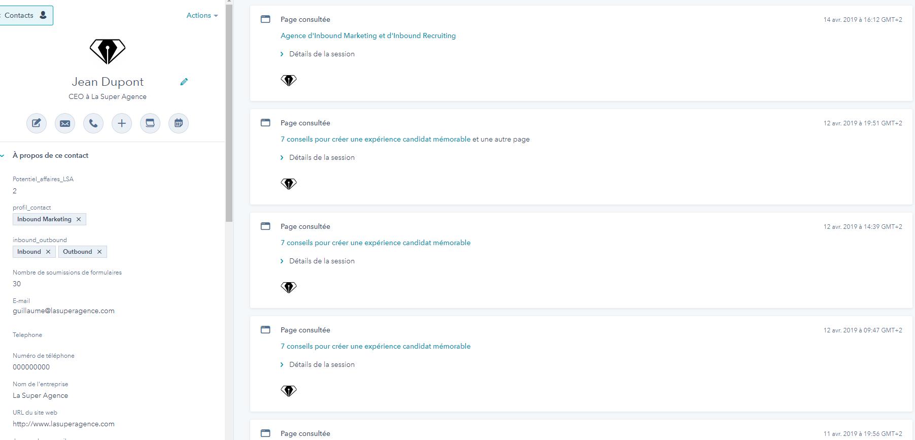 le tracking natif d'HubSpot CRM