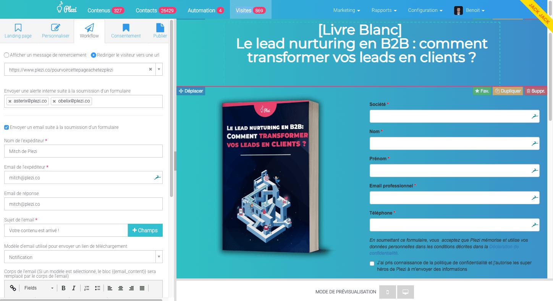 Création de landing page avec Plezi