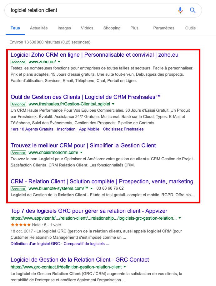Agence adwords affichage annonces dans résultats Google